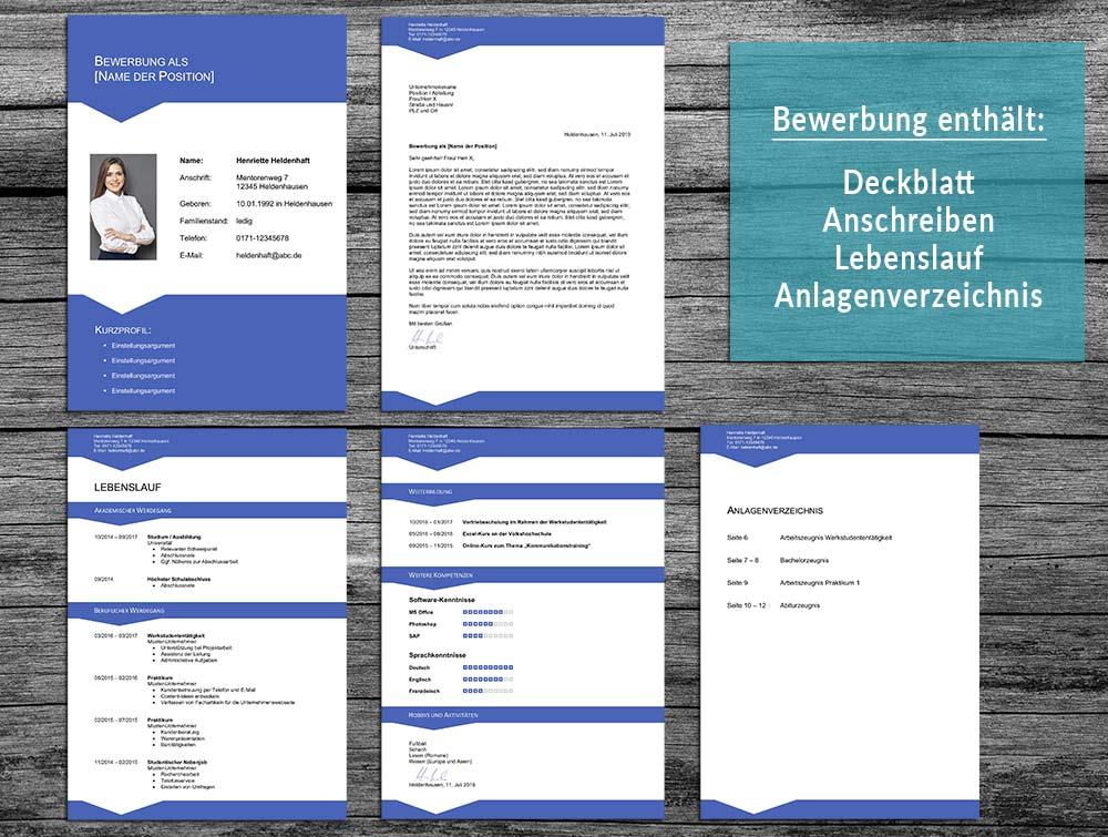 Bewerbung Layout 14 in blau